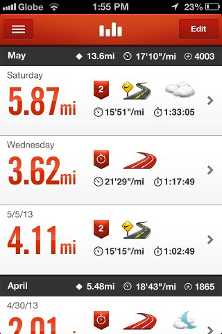 Nike+ Run log