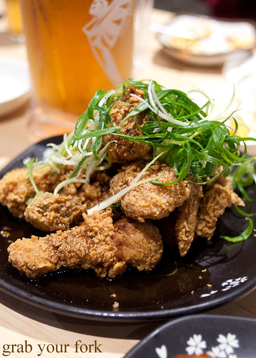 korean fried chicken with spring onion at red pepper, strathfield sports club bistro