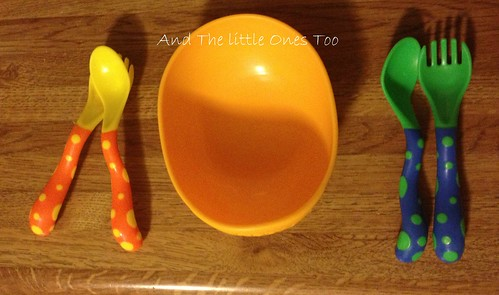 Nuby Sure Grip Bowl with Easy Grip Spoon and Fork to the rescue