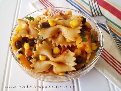 Taco Pasta Salad on plate with fork.