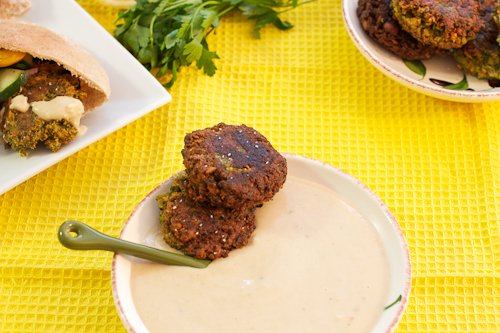 Spinach Falafel with Hatch Chili Mustard Tahini Sauce