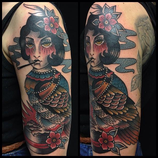 Pin-up civetta tatuaggio traditional by Dap Skingdom Tattoo shop ...