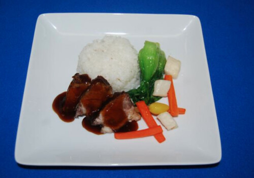 Pork Belly with Steamed Rice and Vegetables