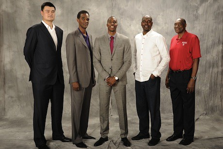 July 13, 2013 - Yao Ming pictured with former Rocket big men Ralph Sampson, Hakeem Olajuwon and Elvin Hayes with Dwight Howard at center