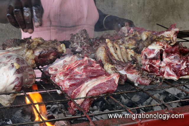 Slow roasting the mbuzi choma