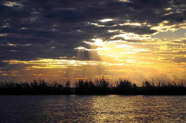 Puesta de sol vista desde el río Chobe. Botsuana.