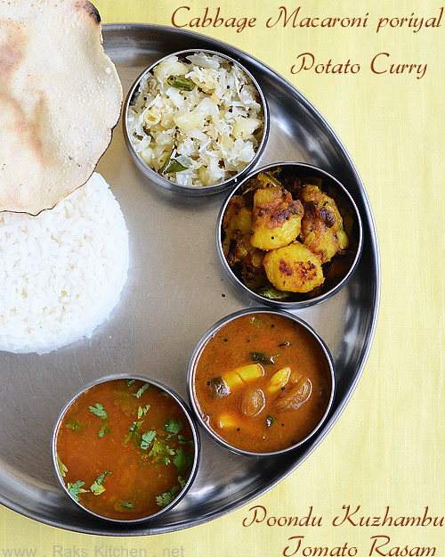 poondu kuzhambu potato curry tomato rasam cabbage poriyal rice appalam