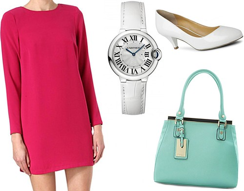 Sam Muses, UK Fashion Blog, London Style Blogger, Cartier Ballon Bleu de Cartier, White Watch, The Watch Gallery, White Court Shoes, Long Sleeved Hot Pink Shift Dress, Mini, Warehouse, Dune Frame Top Handle Handbag, Tiffany Blue, Duck Egg, Nine West, Selfridges