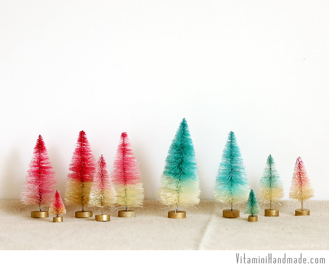Dip Dyed and Decorated Bottle Brush Trees