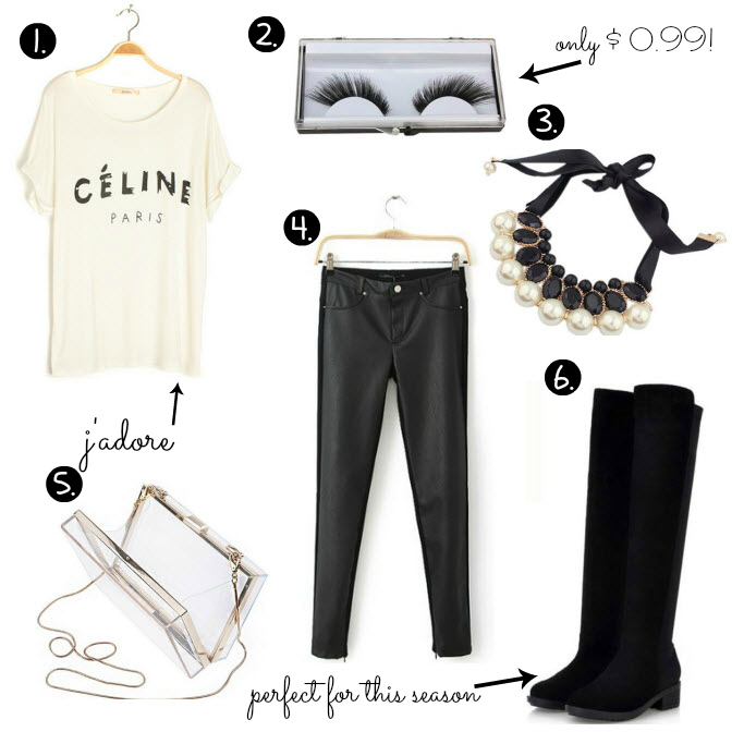 Cheap Friday- Ebay bargains #15. Maddie's guide on Ebay clothing, shoes and accessories. This weeks Ebay bargains include items like celine t shirt, false eyelashes, black sued boots, clear transparent clutch, leather pants, pearl an gemstone necklace