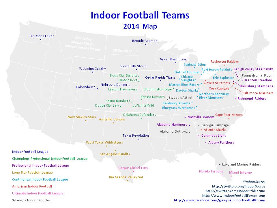 2014 Indoor Football Teams Map