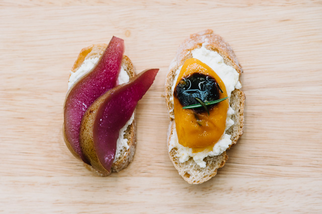 Rosemary poached apricot and wine poached pear crostini