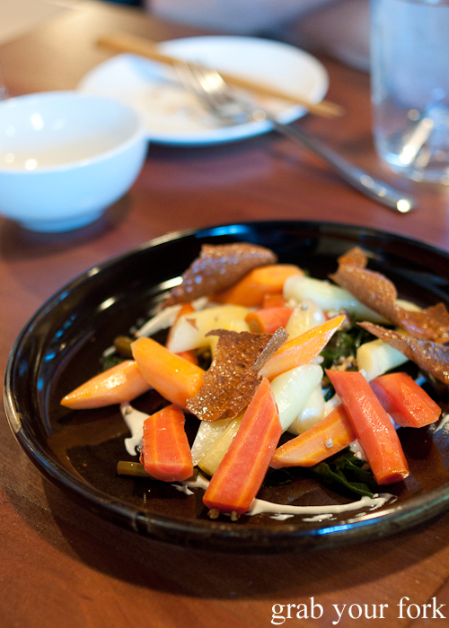 Whipped tofu, carrot, shiitake and buckwheat at Moon Park, Redfern