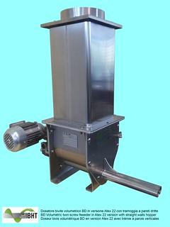 Dosatore bivite volumetrico BD in versione Atex 22 e con tramoggia a pareti dritte
