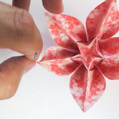 สอนวิธีการพับกระดาษเป็นดอกมะเฟือง (Origami Carambola) 030