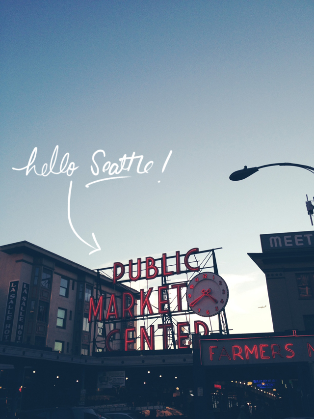 downtown seattle, cafe champagne, the pike place market, handwritten text using the bamboo tablet
