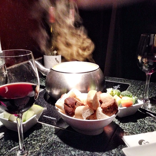Day 15. My drink of choice is Pinot noir, we tried a bottle of Lacrema last night at The Melting Pot. This photo is really cool with the steam rolling out of the pot. The Green Goddess cheddar cheese fondue was the best cheese fondue I have had there! Oh,
