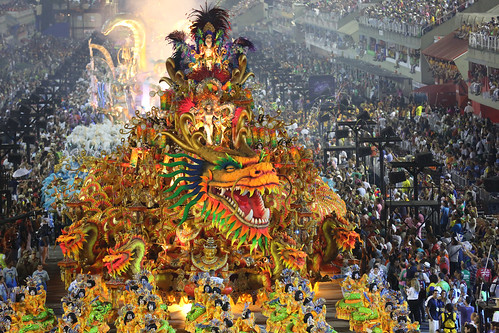 Rio Carnaval 2014 - photo from Boaz Guttman בועז גוטמן Боаз Гутм captures dazzling dragon float in processions at the Sambadrome, Rio de Janeiro, Brazil.