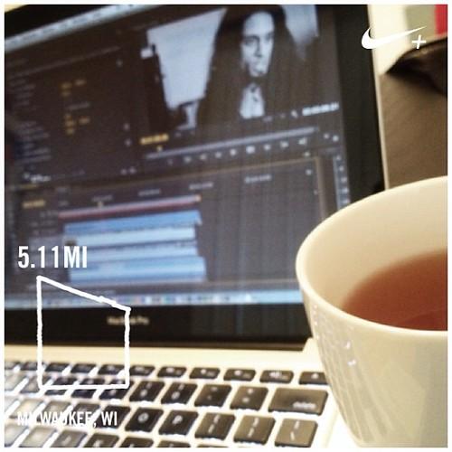 Run + tea + edit = Friday morning #PushYourself #10x #premierepro #regularoff #fb #nikeplus