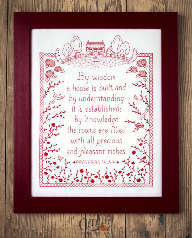 Proverbs Redwork Embroidery by Clementine Pattern Co.