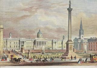 Image of Nelson's Column. uk london trafalgarsquare nationalgallery fountains nelsonscolumn stmartininthefields kinggeorgeiv kingwilliamiv morleyshotel