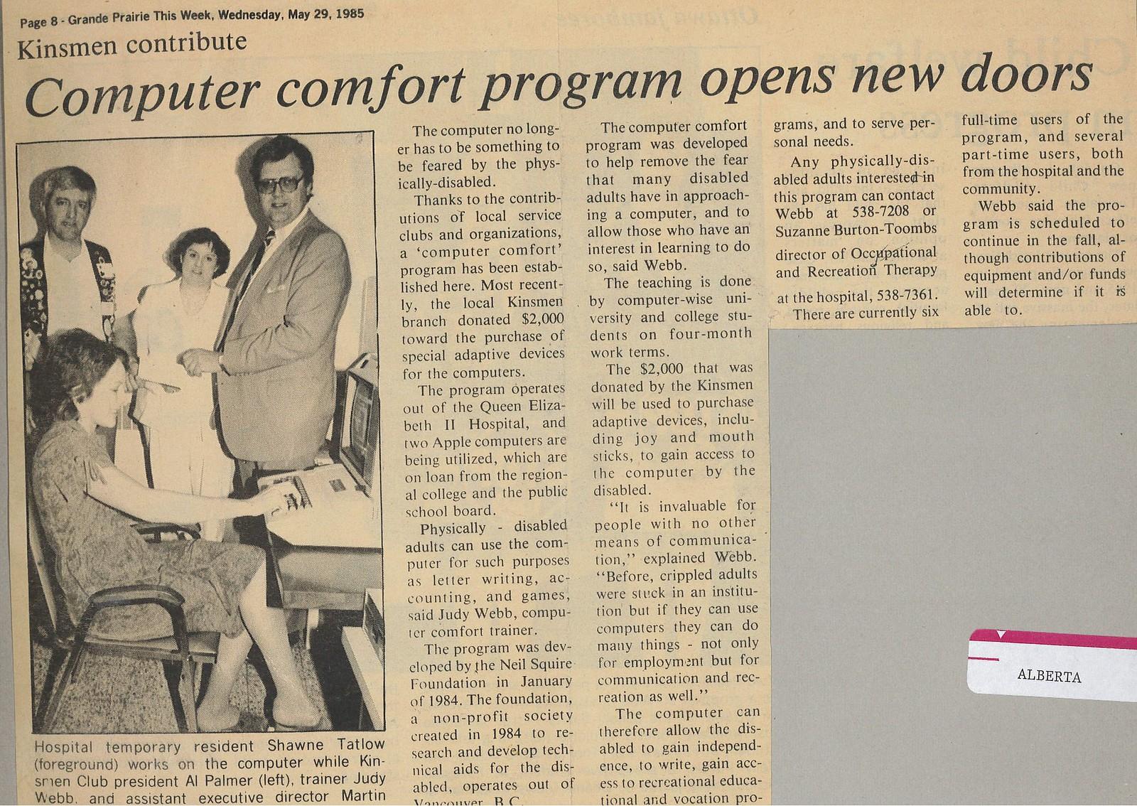 Newspaper Clipping from Grand Prairie. Headline: Computer Comfort Program opens new doors.