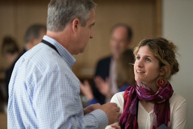 Art Levitt and Olivia Leland interacting at Giving Pledge, Skoll World Forum 2014, Saïd Business School, Oxford - skollwf 2014