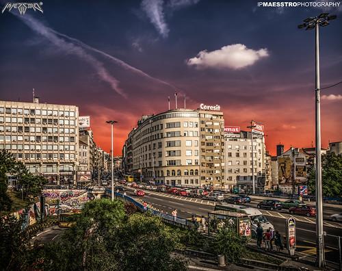 street city sunset building architecture sunrise cityscape serbia belgrade hdr ipmaesstro