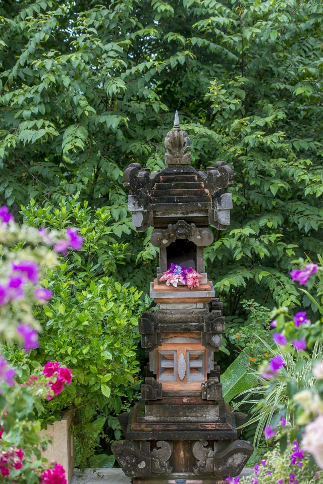Balinese Ancestor Temple on lower terrace, refreshed with flower offerings every day