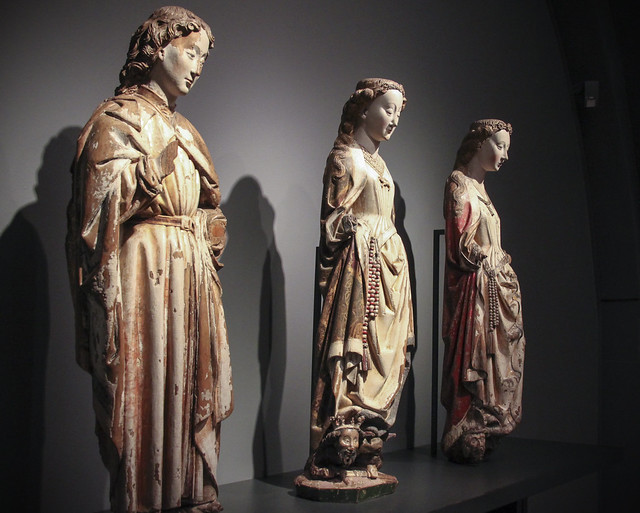 St. John the Evangelist, St. Barbara, St. catherine c 1460,  Master of statues of Koudewater