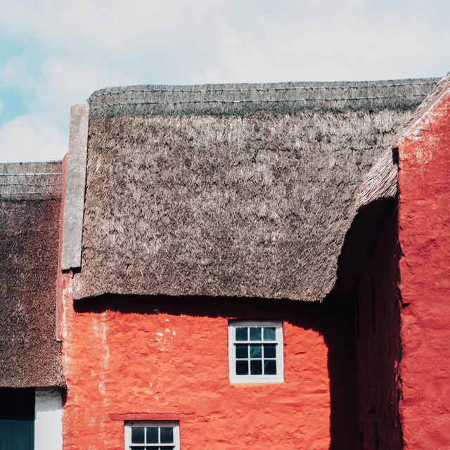 red thatched house