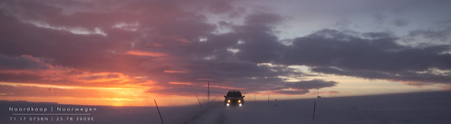 winter red sky orange snow car norway sunrise canon scenery terra scania noorwegen noordkaap nordcape