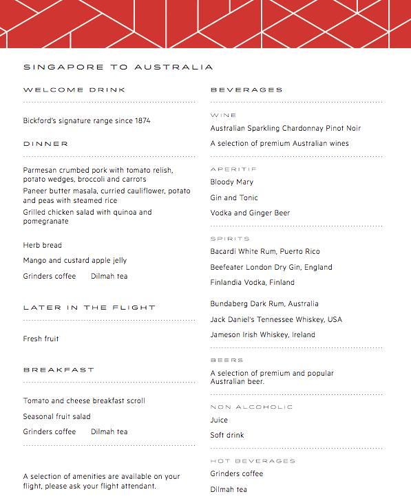 The New Qantas Economy Inflight Food Menu  - Alvinology