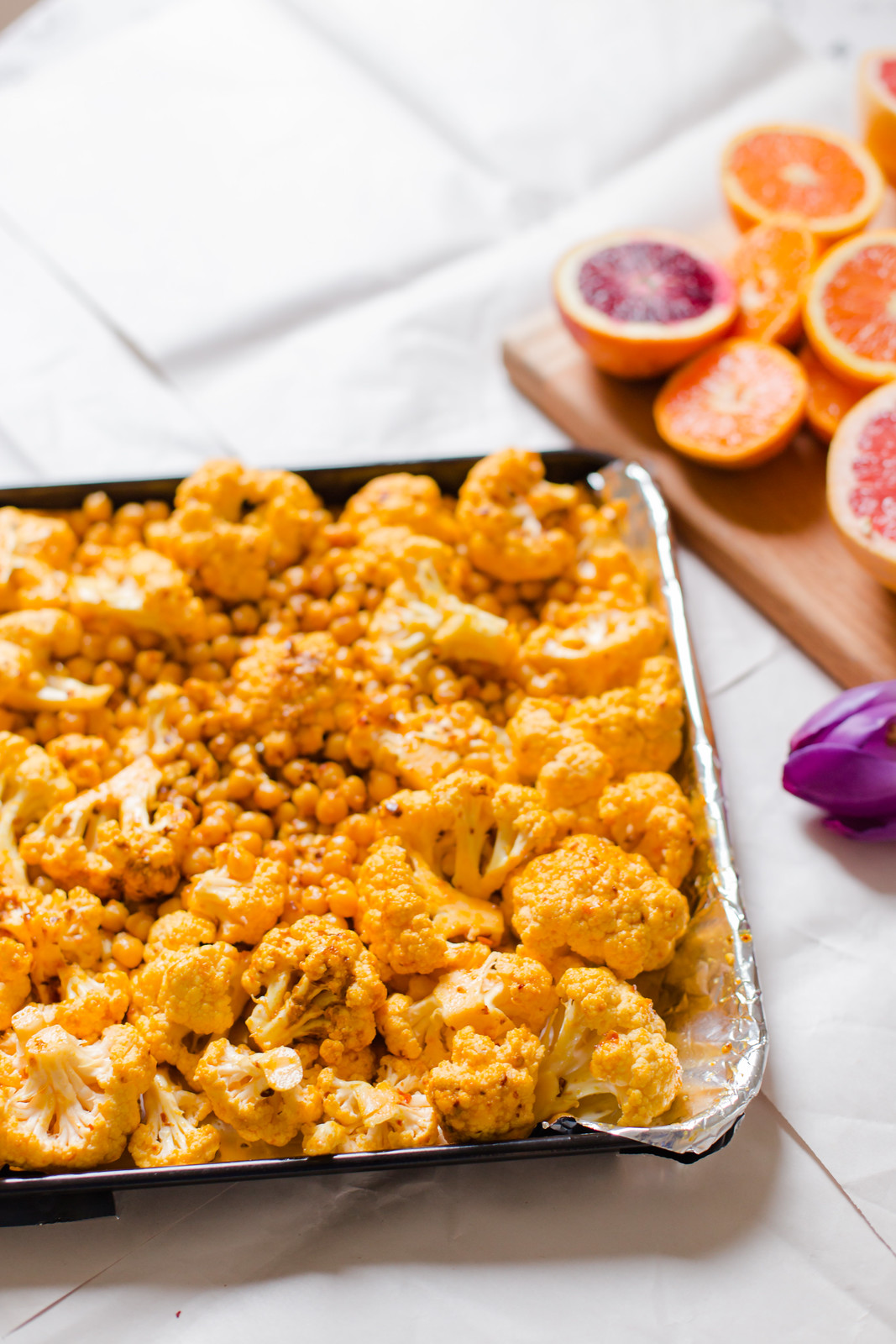 Turmeric Roasted Cauliflower, Chickpea and Quinoa | Elsa Brobbey
