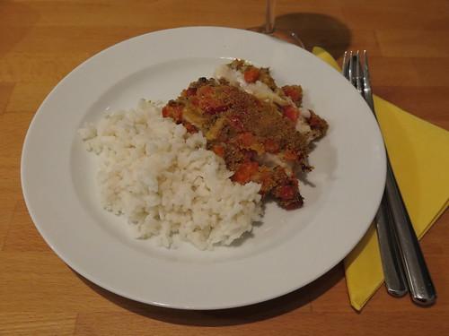 Viktoriabarsch Bordelaise mit Reis