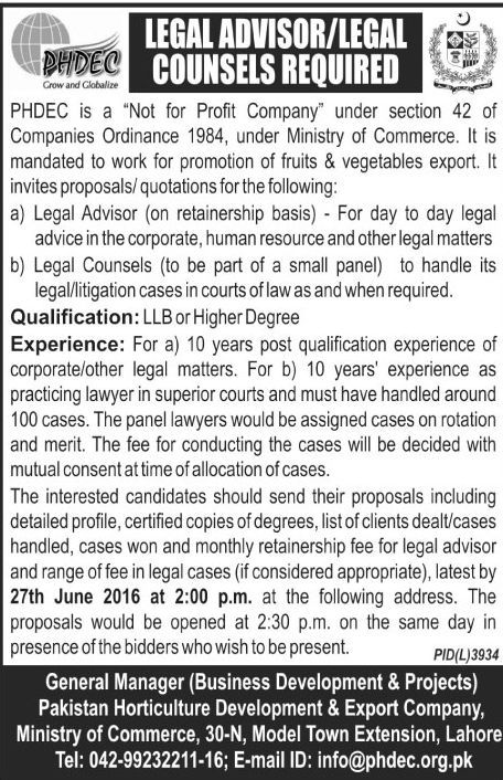 Pakistan Horticulture Development Lahore Legal Advisors Required