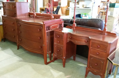Cherry chest $275, dresser with mirror $275, bed frame $100, vanity with mirror $175