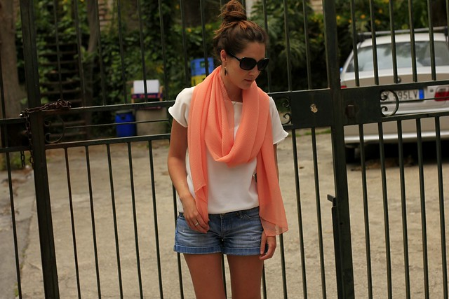 4 coral denim and white