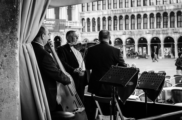 Music fills St. Mark's Square from Cafe Florian's string quartet.