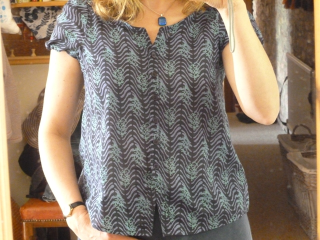 Shirt refashioned from a size 16ish top using adapted pattern 7b from Simple Modern Sewing