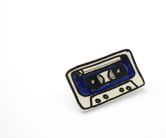 blue music cassette brooch