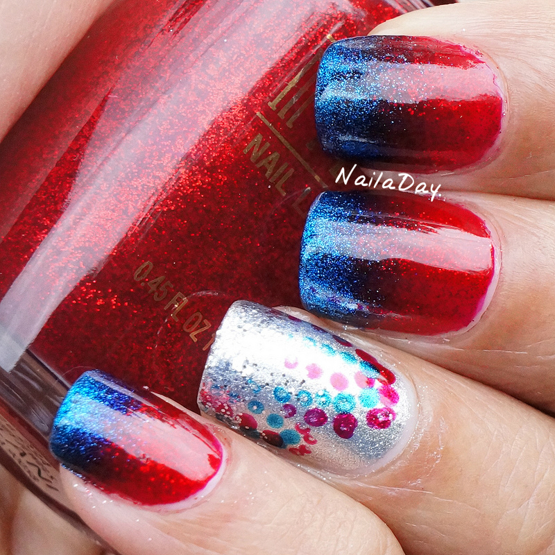 NailaDay: Milani Ruby Jewels and Sally Hansen Freeze July 4th mani
