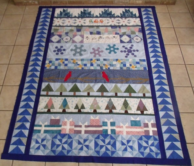 round robin finished quilt top winter wonderland