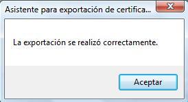 Fin de la exportación del certificado