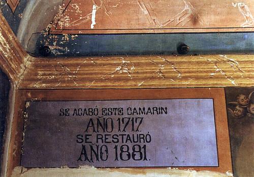 Cartela del Camarín de la Virgen de la Encarnación antes de la restauración