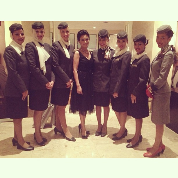 With the cabin crew of #etihadairways, at the 10th anniversary of Etihad