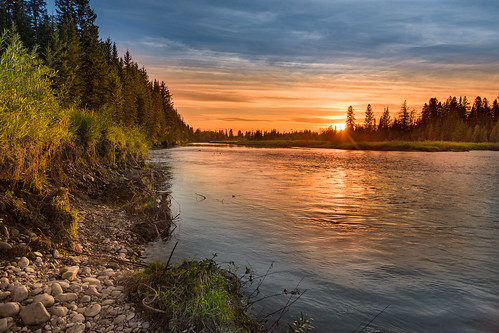 sunset red canada river deer alberta markerville