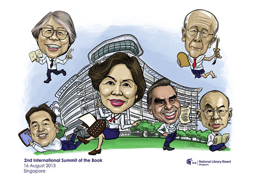 digital group caricatures for National Library (NLB) - 3