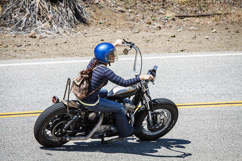 Girl Rides Custom Motorcycle on Mulholland