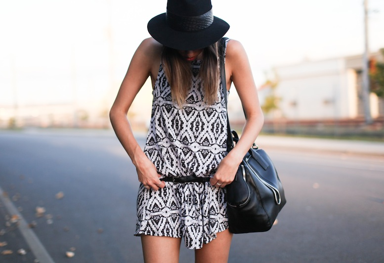 modern legacy fashion style blog Australia tribal print dress felt fedora Isabel Marant sneakers Alexander Wang tote bag Asos belt (4 of 6)